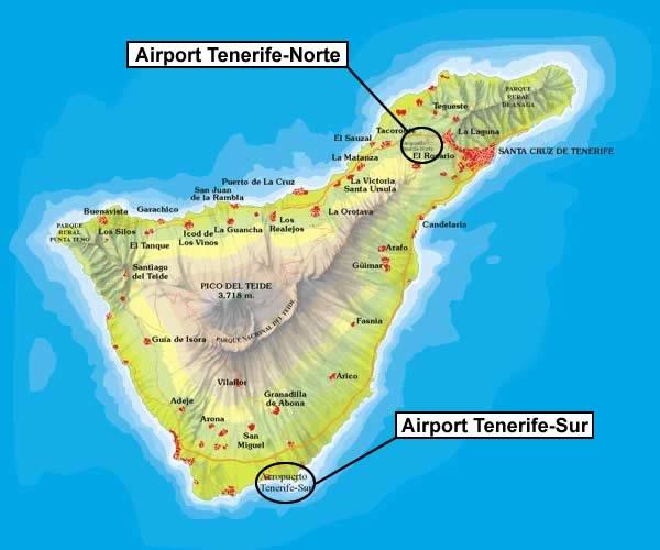Teneriffan lentokentät kartta